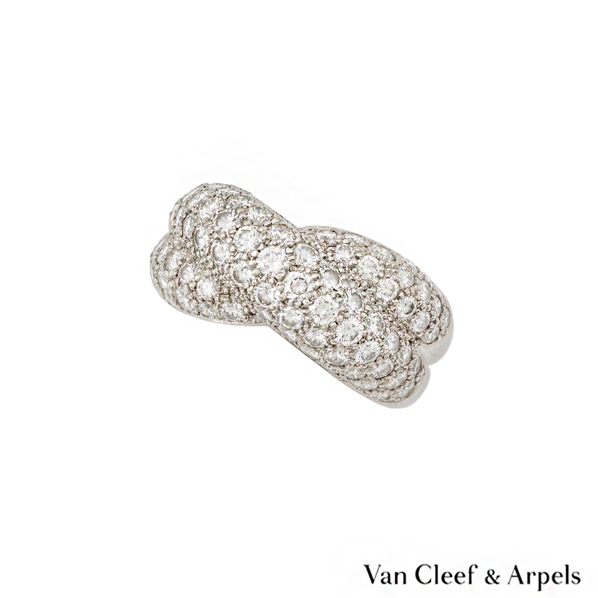 Van Cleef & Arpels 18k White Gold Diamond Set Dress Ring